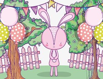 Glücklicher Kaninchengeburtstag mit Ballonen und Parteifahne