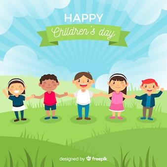 Glücklicher Kindertaghintergrund im flachen Design