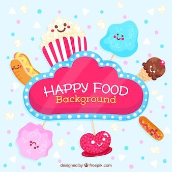 Glücklicher Lebensmittelhintergrund mit netten Karikaturen