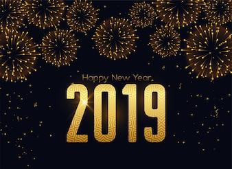 Glücklicher neuer 2019-jähriger Feuerwerksfeierhintergrund