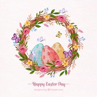 Glücklicher Ostern-Tageshintergrund in der Aquarellart