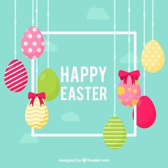 Glücklicher Ostern-Tageshintergrund in der flachen Art