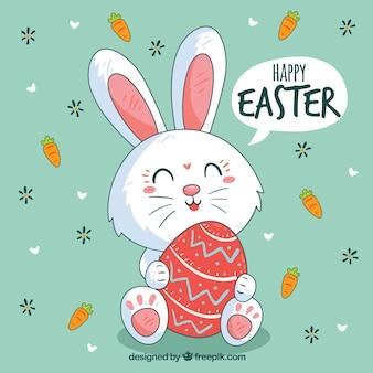 Glücklicher Ostern-Tageshintergrund mit nettem Häschen