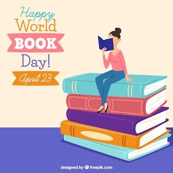 Glücklicher Weltbuch-Tageshintergrund