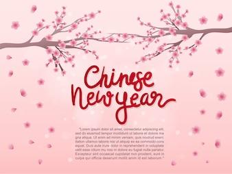 Glückliches chinesisches neues Jahr mit Pfingstrosenblume