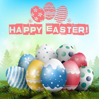 Glückliches Ostern-Plakat mit bunten Eiern auf dem Tannenbaum