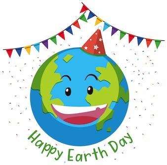 Glückliches Tag der Erde Flagge Konzept