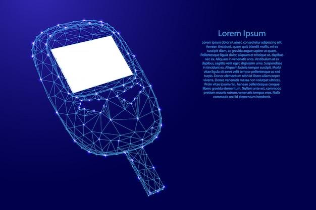 Glucometer-gerät zur messung des blutzuckers aus futuristischen polygonalen blauen linien und leuchtenden sternen