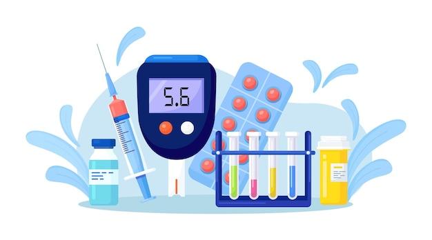 Glucometer zur messung von zucker im blut. blutzuckermessgerät, spritze mit insulin, reagenzgläser, medikamente. behandlung, überwachung und diagnose von diabetes mellitus typ 2