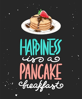 Glück ist ein pfannkuchenfrühstück, eine pfannkuchenskizze