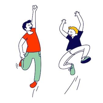 Glück, kindheit und freiheit, konzept. glückliche kinder, die in der luft springen. karikatur flache illustration