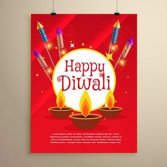 Glücklich diwali-fest grußkarte einladung template-design