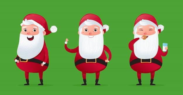 Glücklich ein weihnachtscharakter niedlicher weihnachtsmann-satz.