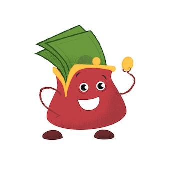 Glücklich lächelnde handtasche. geld, ersparnisse, finanzen.