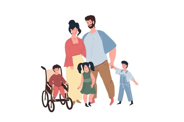 Glücklich lächelnde kinder und kinder mit behinderungen, körperliche störungen mit ihren liebevollen eltern