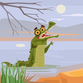 Glücklich lächelnde krokodil-alligatorfiguren, die aus wasser schauen.