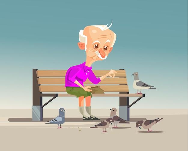Glücklich lächelnder alter großvatercharakter, der tauben füttert. karikatur