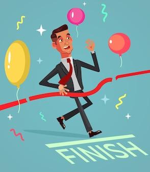 Glücklich lächelnder erfolgreicher geschäftsmann büroangestellter gewinner charakter überquert ziellinie.