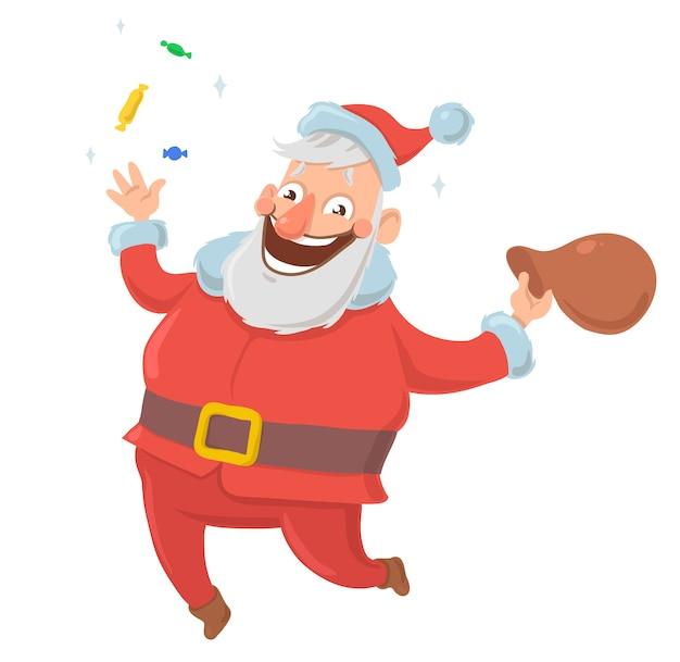 Glücklich lächelnder weihnachtsmann wirft süßigkeiten in die luft und springt vor freude mit tüte mit geschenken auf weißem hintergrund. frohe weihnachten und ein gutes neues jahr. illustration. zeichentrickfigur.