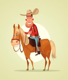 Glücklich lächelndes cowboy sheriff charakter reiten pferd.