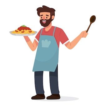 Glücklich papa zu hause kochen