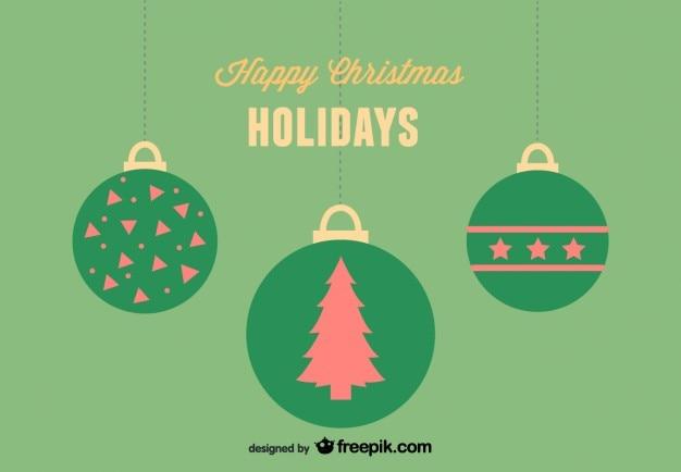 Glücklich weihnachtsferien grußkarte mit 3 weihnachtskugeln