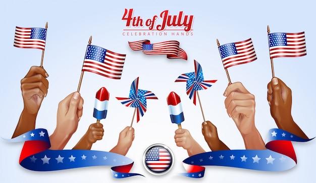 Glückliche 4. juli american independence day feier hände overlays
