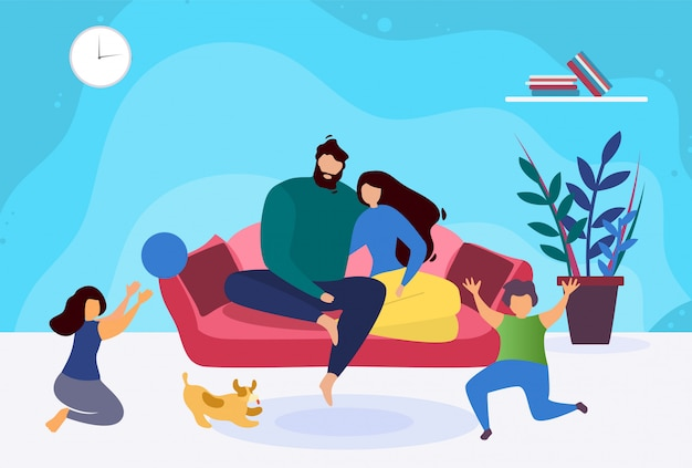 Glückliche abend-familie entspannen sich illustration.