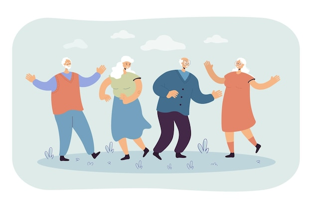 Glückliche ältere leute, die party im freien genießen. karikaturillustration