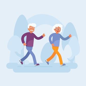 Glückliche ältere paare, die in den park laufen