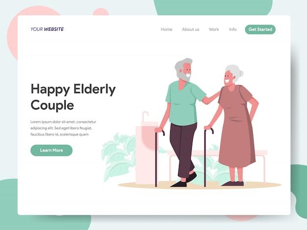 Glückliche ältere paarfahne für zielseite
