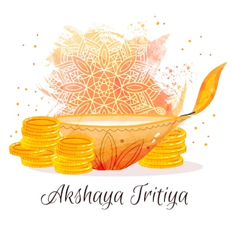 Glückliche akshaya tritiya goldene münzen