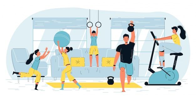 Glückliche aktive familiensport-workout-heimaktivitäten