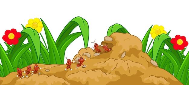 Glückliche ameisenkarikatur im nest