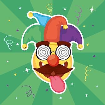 Glückliche aprilscherz-tagesillustration mit emoji und verrückter maske