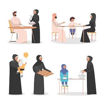 Glückliche arabische familie hängen zeit zusammen zu hause eingestellt. muslimischer charakter in arabischer kleidung. traditionelle familie.