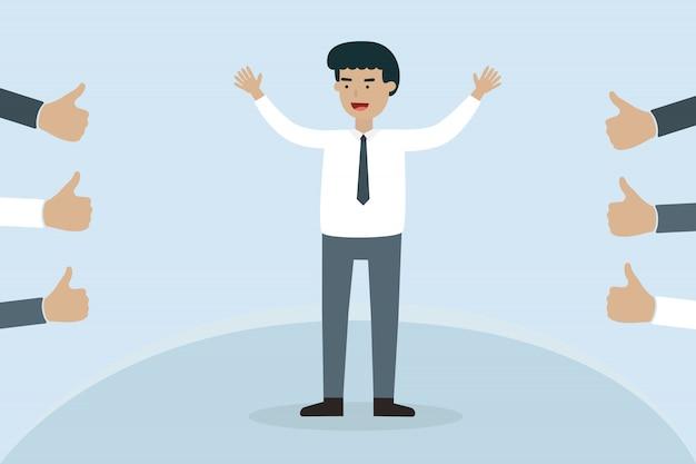 Glückliche arbeitskraft mit thump oben im büro
