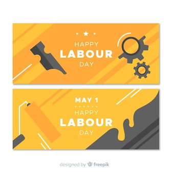 Glückliche arbeitstag flache banner für web und social media