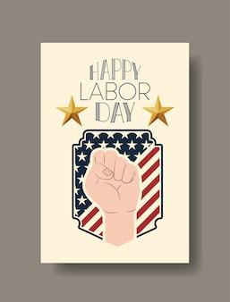 Glückliche arbeitstageskarte mit handfaust und usa-flagge