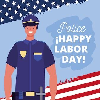 Glückliche arbeitstagkarte mit polizeikarikaturillustration