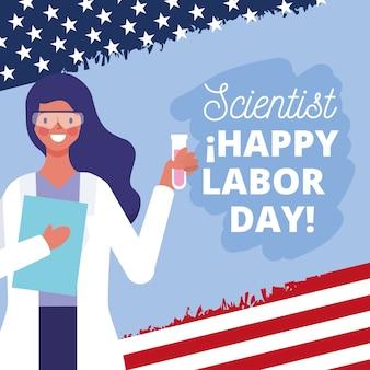 Glückliche arbeitstagkarte mit wissenschaftlerkarikaturillustration