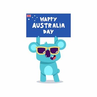 Glückliche australien-tageskonzeptillustration mit niedlichen koala-zeichen lokalisiert auf einem weißen hintergrund.