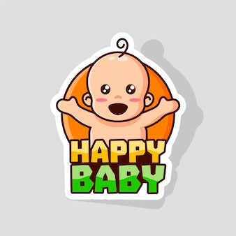 Glückliche baby-logo-vorlage