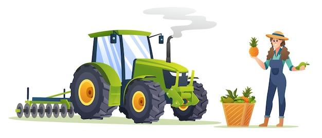 Glückliche bäuerin mit frischen früchten und traktorillustration