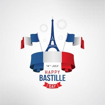 Glückliche bastille-tagesfahnenfeier in frankreich-vektorillustration