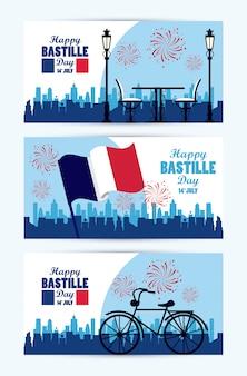 Glückliche bastille-tagesfeier mit flagge und fahrrad