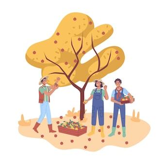 Glückliche bauern, die äpfel im obstgarten pflücken