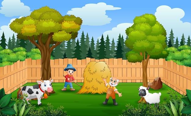 Glückliche bauern, die in der farm arbeiten