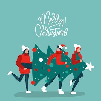 Glückliche baumfreunde, die weihnachtsbaum tragen, der sich auf feiertagskonzeptgrußkarte mit linearem ...