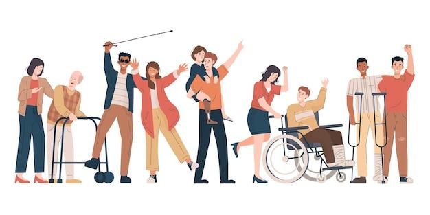 Glückliche behinderte menschen mit ihren freunden und ihrer familie